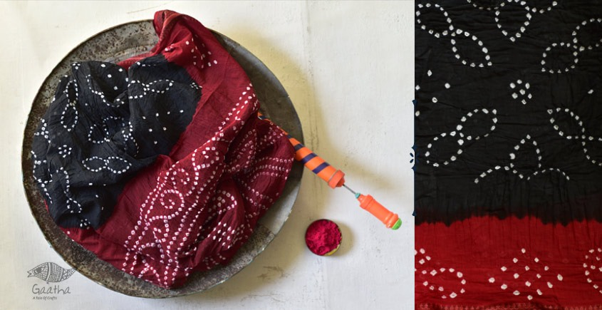Faagun . फाल्गुन  ⁂ Cotton Bandhani Saree ⁂ 9