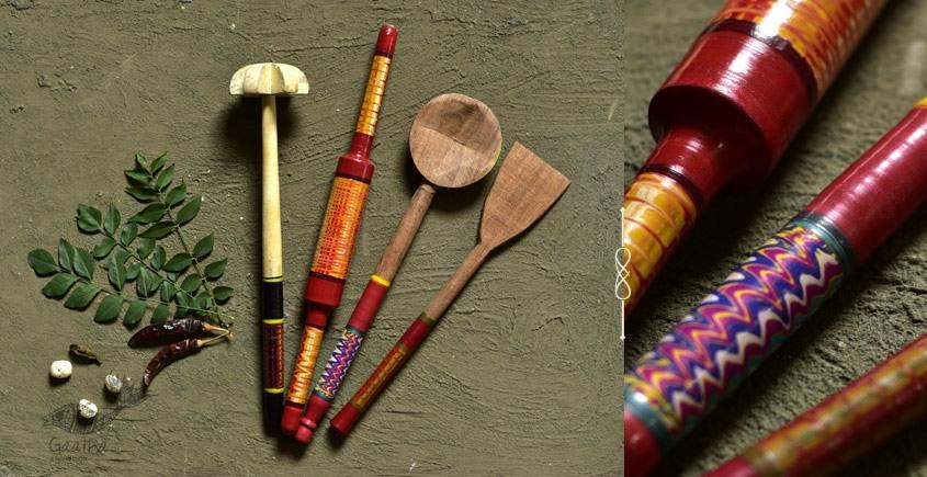 Rasoi ✯ Kutch lacquer ladles { Set of Four } ✯ 1