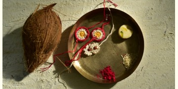 Crocheted Celebrations ❁ Handmade Crochet Flower 2 Rakhis +1 Lumba (Set of Three) - Three Options ❁ F