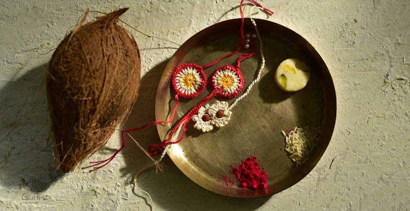 shop online latest collection of handmade crochet rakhi and lumba set