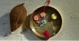 Crocheted Celebrations ❁ Handmade Crochet Flower 2 Rakhis +1 Lumba (Set of Three) - Three Options ❁ G