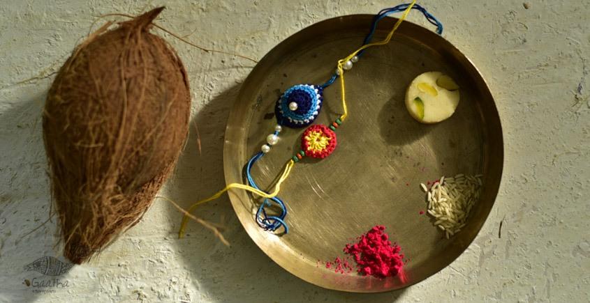shop online latest collection of handmade crochet flower rakhi sets