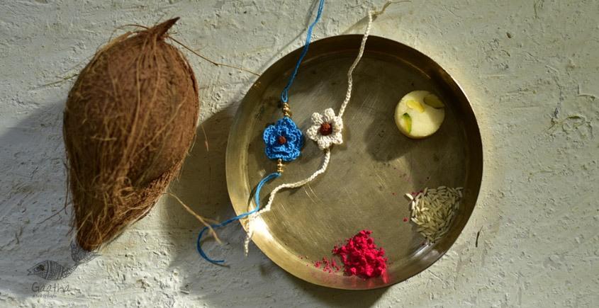 shop online latest collection of handmade crochet rakhi sets