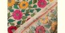 Kantha Embroidered Tusser silk dupatta flower design