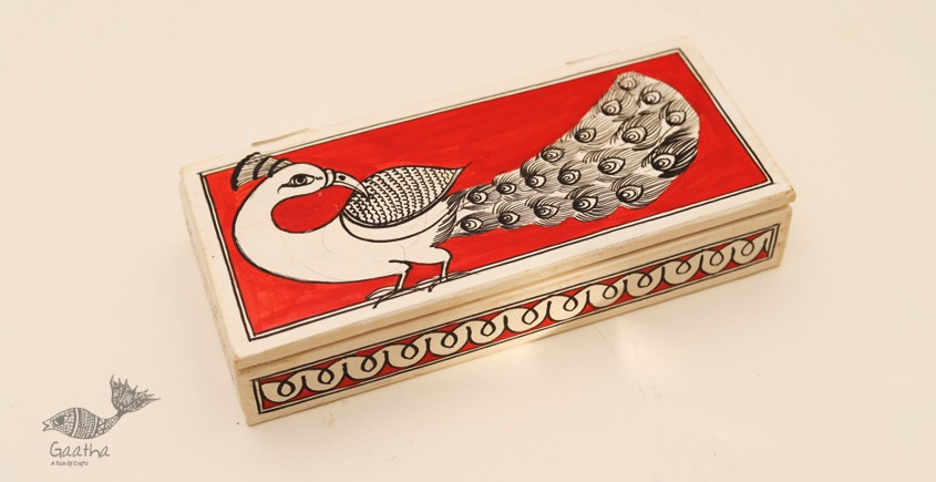 Wooden box ☀ Peacock (Red) 102