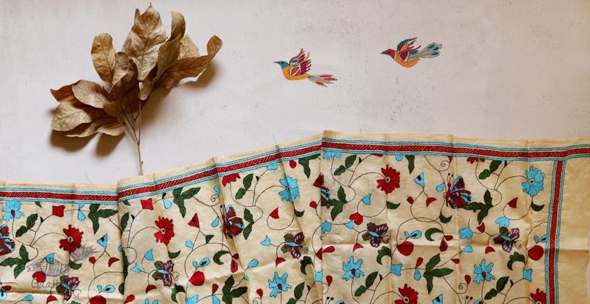 पुष्पारम ✽ Kantha Silk Stole ✽ L