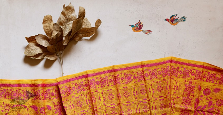Yellow tussar Silk kantha Designer