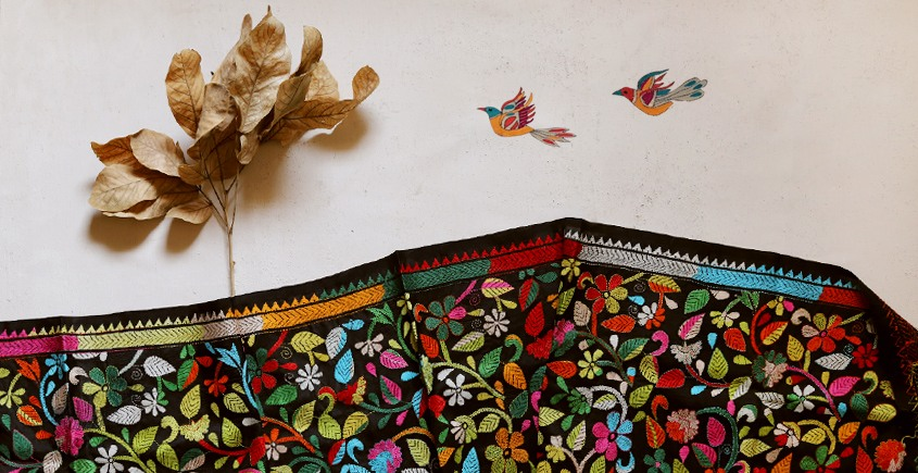 पुष्पारम ✽ Kantha Banglore Silk Dupatta ✽ H
