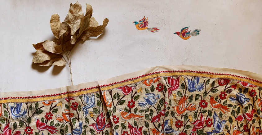 पुष्पारम ✽ Kantha Banglore Silk Dupatta ✽ E