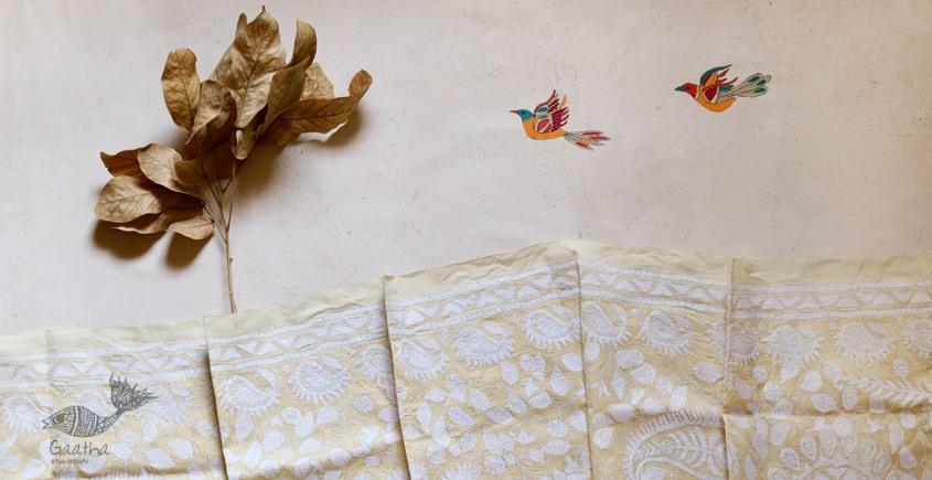 Light color Kantha Embroidered silk dupatta