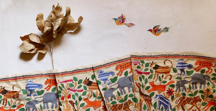 पुष्पारम ✽ Kantha Tussar Silk Dupatta ✽ B
