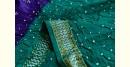 summer special Cotton Bandhani Blue-Green Saree