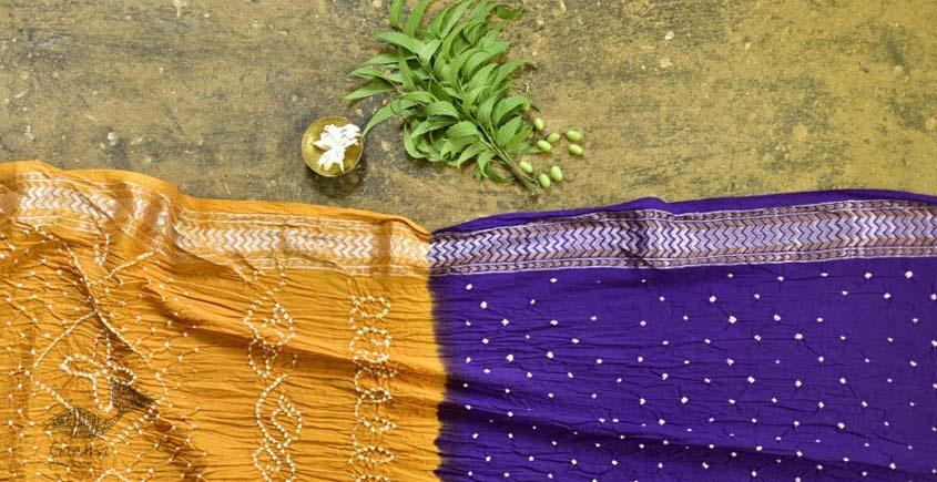 summer special Cotton Bandhani violate-yellow Saree