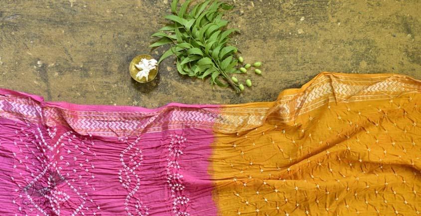 summer special Cotton Bandhani yellow-pink Saree