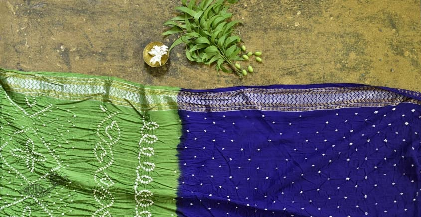 summer special Cotton Bandhani parrot-green Saree