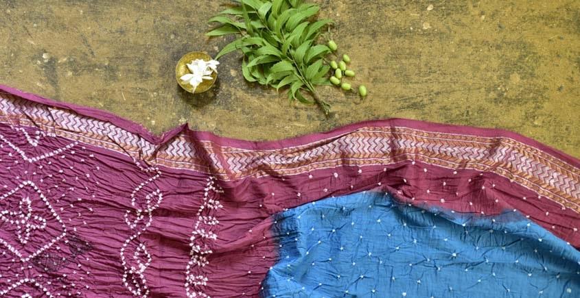 summer special Cotton Bandhani blue-pink Saree