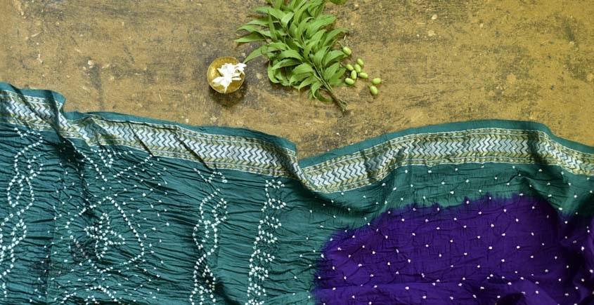 summer special Cotton Bandhani green & violet Saree