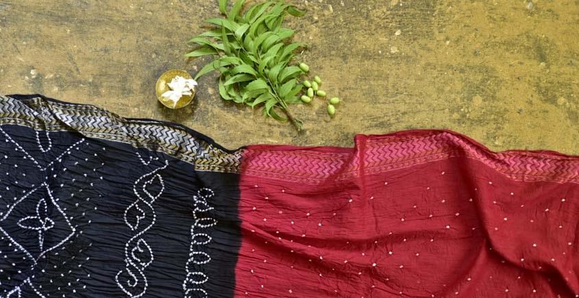 summer special Cotton Bandhani red-black Saree
