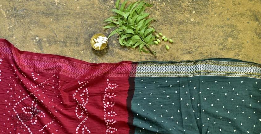 summer special Cotton Bandhani Green-red Saree