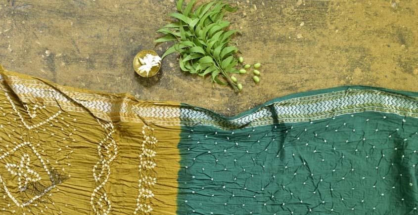 summer special Cotton Bandhani green Saree