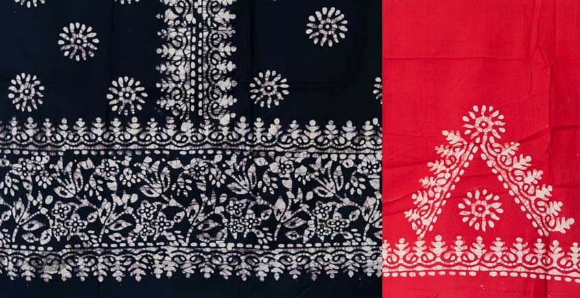 buy online wax batik dress material with dupatta - bright colors