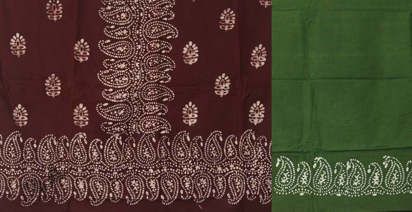 buy online wax batik dress material with dupatta - in green and brown color