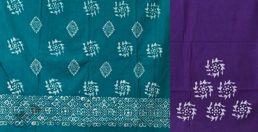 buy online wax batik dress material with dupatta - bright colors violate and blue