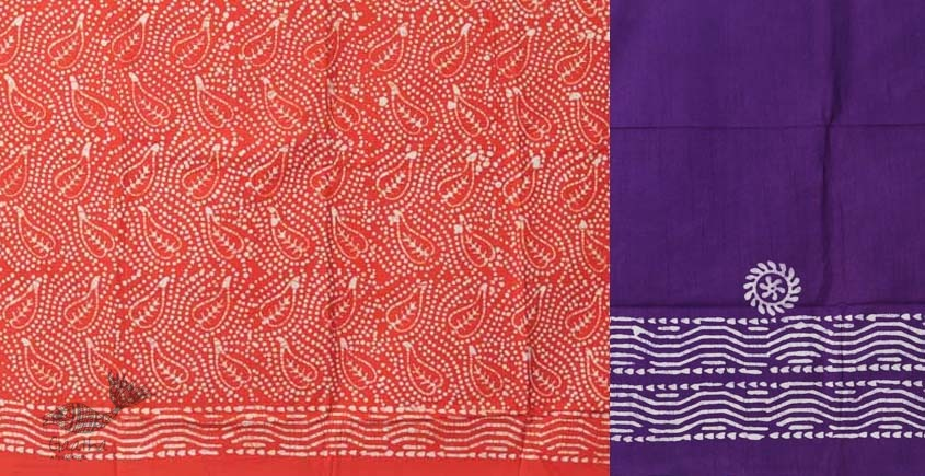 buy online wax batik dress material with dupatta in Orange bright color