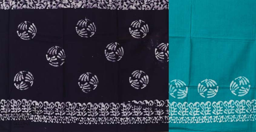 buy online wax batik dress material with dupatta - teal green and dark violate