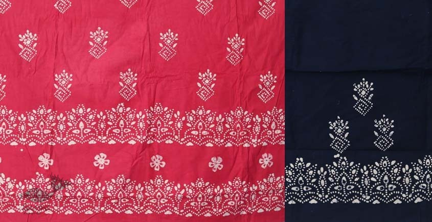 buy online wax batik dress material with dupatta - bright colors Pink and navy Blue color combination