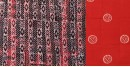 buy online wax batik dress material with dupatta - in double color orange and black