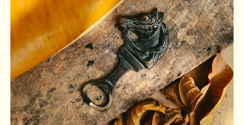Antique Finish Brass . Bottle Opener - 4.5 x 2 ❋ D