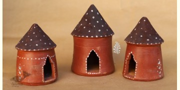Maati Ka Kaam ● Clay Bird House ( Set of three ) ● 19X
