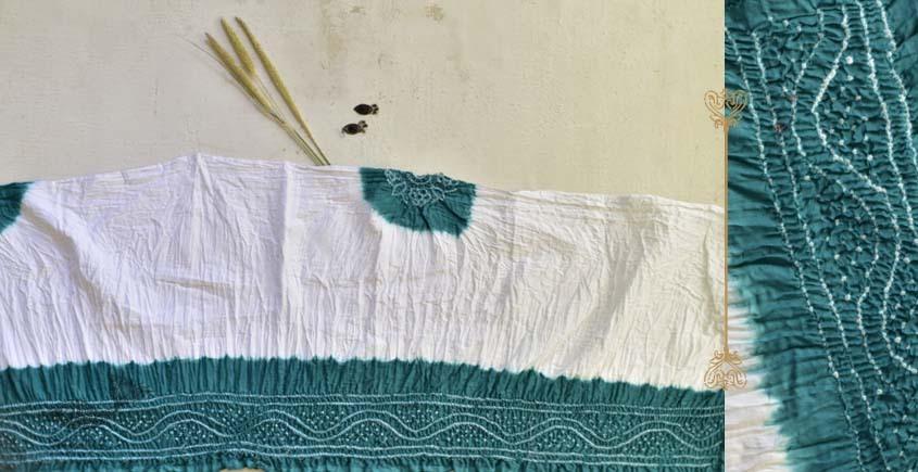 latest collection of cotton bandhni Green-white sarees