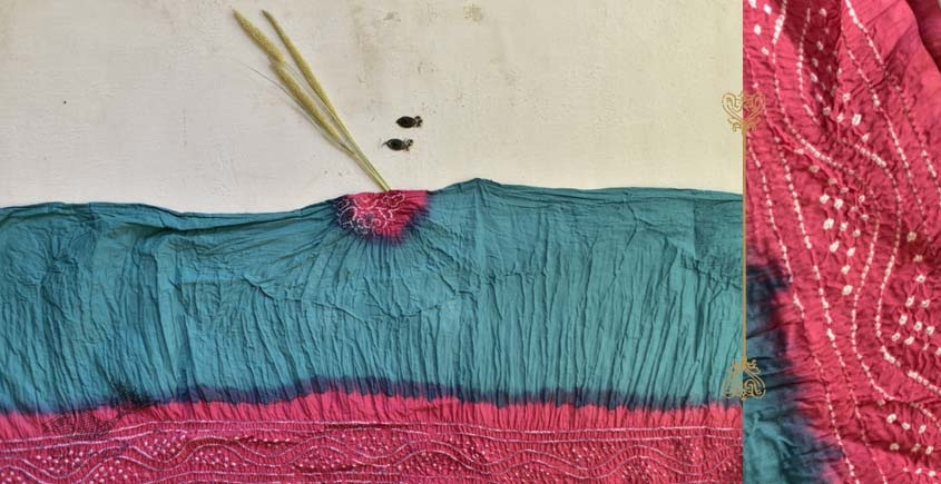 latest collection of cotton bandhni Blue-Peach sarees