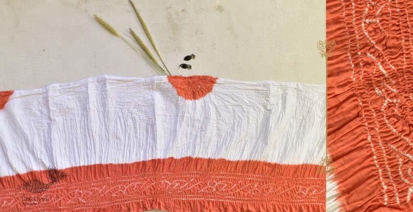 latest collection of cotton bandhni orange-white sarees