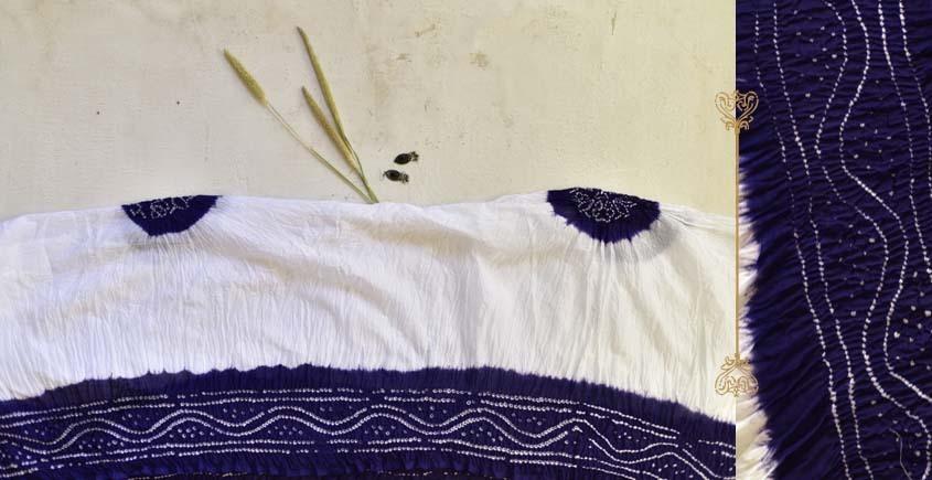 latest collection of cotton bandhni Blue-White sarees