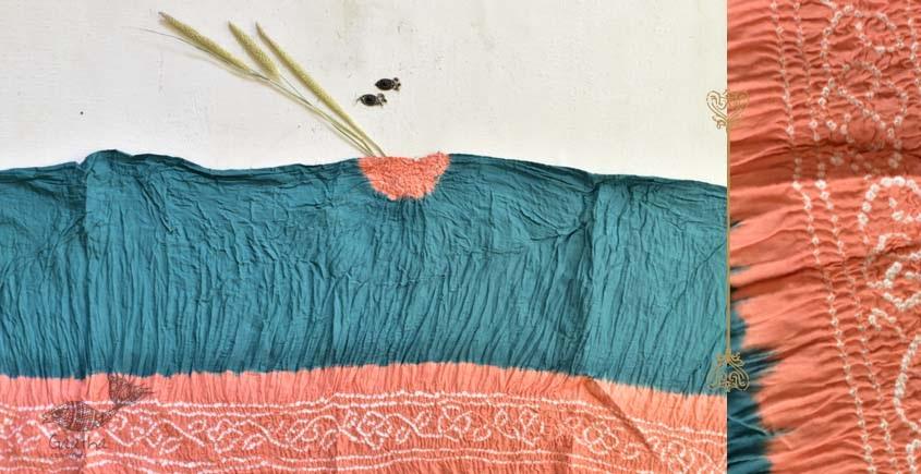 latest collection of cotton bandhni Blue-Orange sarees