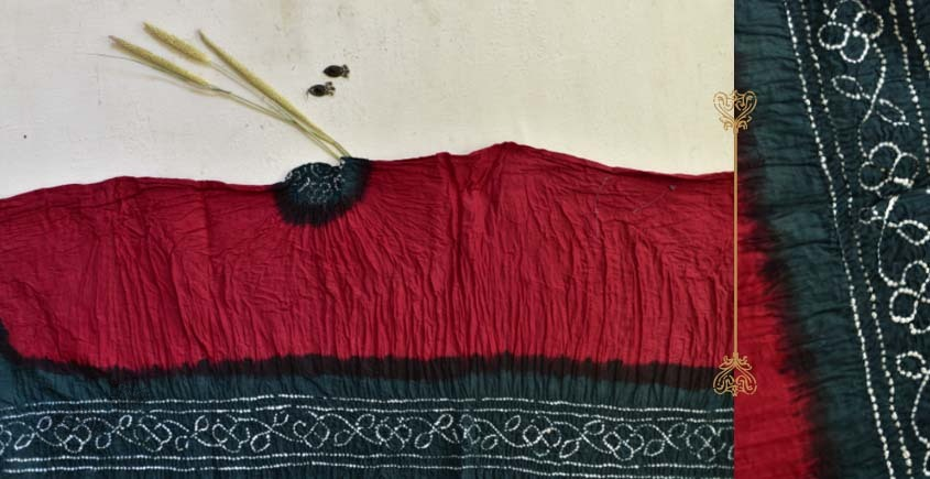 latest collection of cotton bandhni red-green sarees