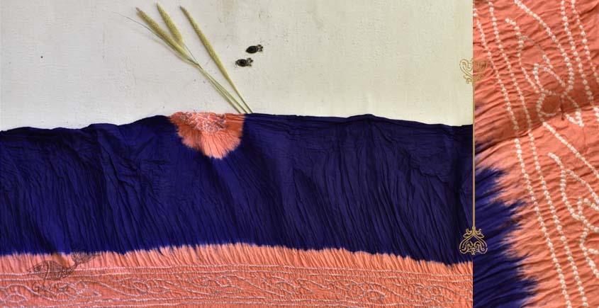 latest collection of cotton bandhni orange-blue sarees