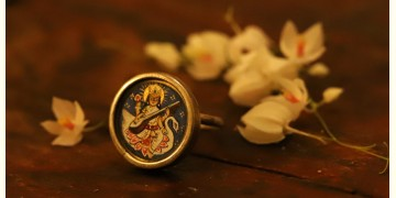 देवसेना * Miniature Painting . Ring * Saraswati