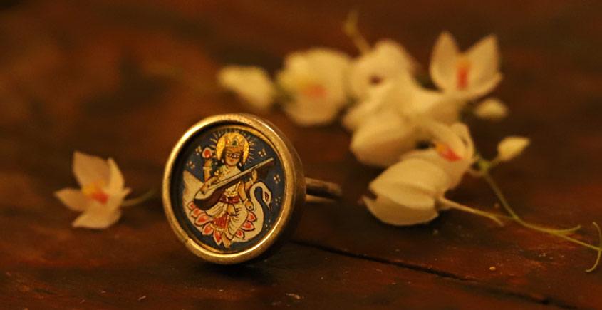 देवसेना * Miniature Painting . Ring * Saraswati