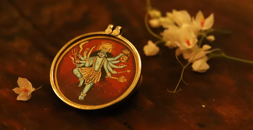 देवसेना * Miniature Painting . Pendant * Kali