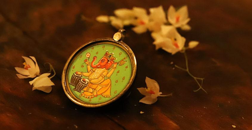 देवसेना * Miniature Painting . Pendant * Ganpati