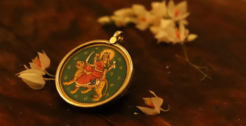देवसेना * Miniature Painting . Pendant * Durga