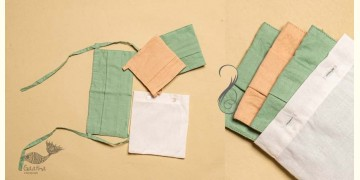 Be safe & stylish ✜ Solid Colour Cotton Mask ( Set of 3 with Pouch ) ✜ F