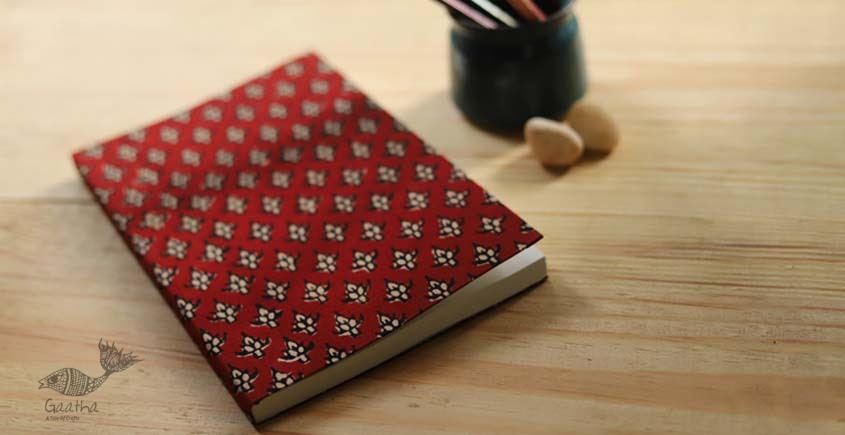 buy online Handmade diary with Block print cotton fabric in red print - plain pages