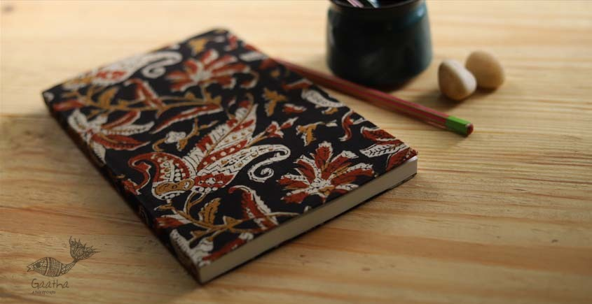 buy online Handmade diary with Block print cotton fabric with keri motif- plain pages