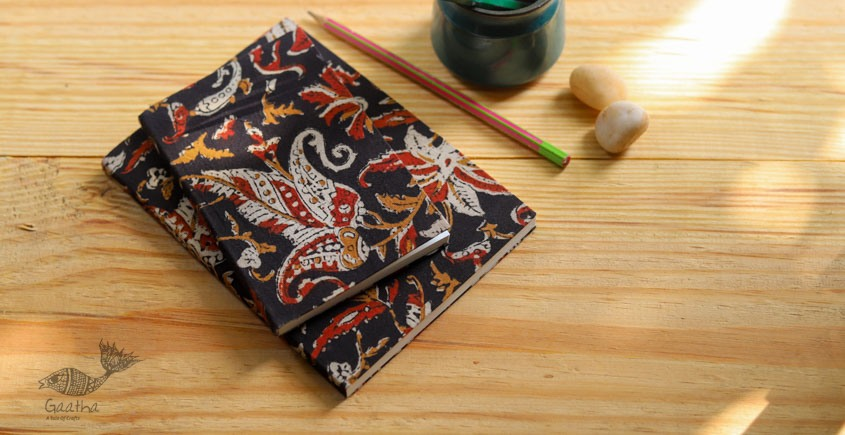 buy online Handmade Notebook / diary with Block print cotton fabric - plain pages  set of two