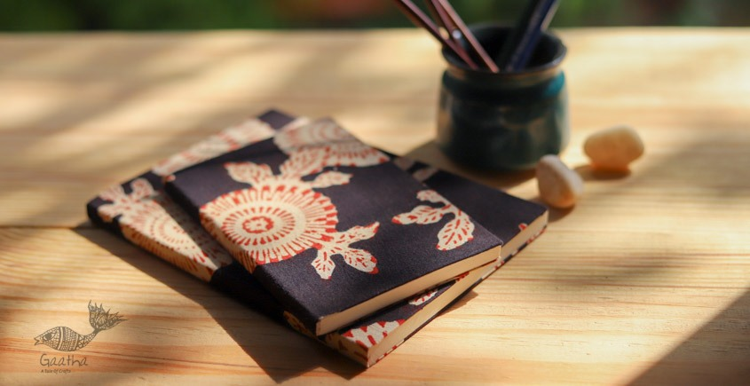 buy online Handmade Notebook / diary with Block print cotton fabric in black print- plain pages